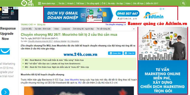 Quảng cáo banner hiển thị trên 24h.com.vn