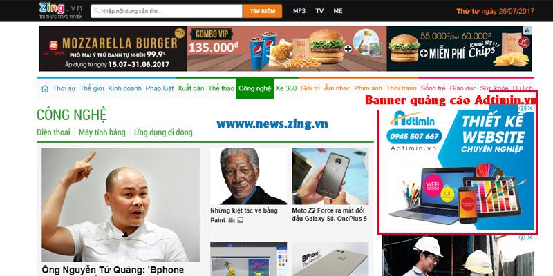 Quảng cáo banner hiển thị trên news.zing.vn