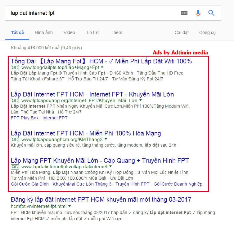 quảng cáo từ khóa google adwords top 4