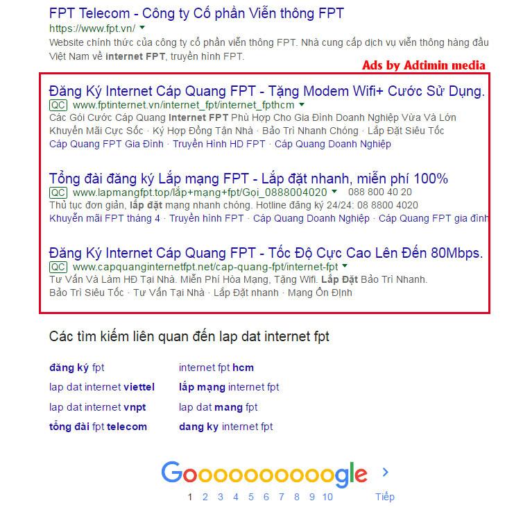 quảng cáo từ khóa google top 10