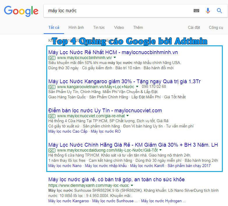 Top 4 quảng cáo từ khóa google do Adtimin cung cấp