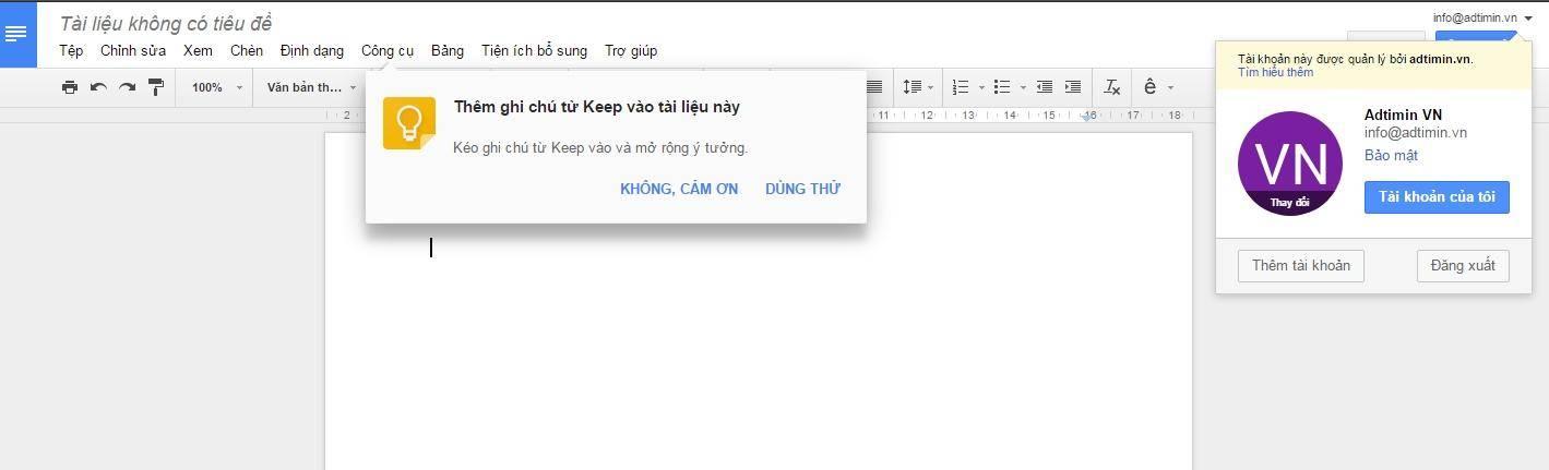 Soạn thảo trong Google driver