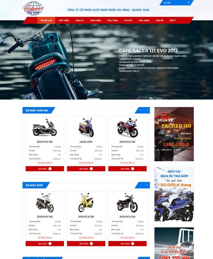 mẫu thiết kế website Đại lý xe máy