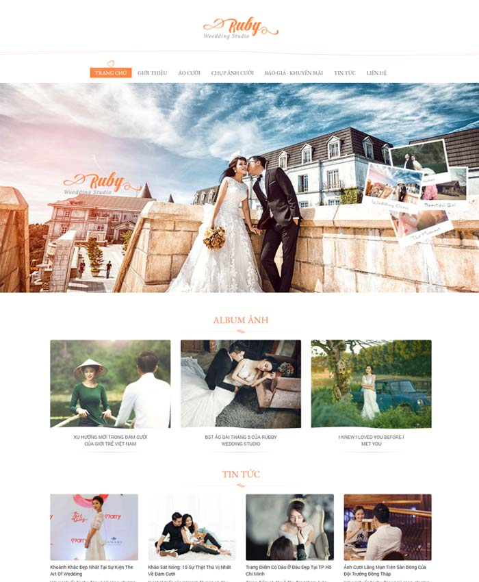 mẫu website áo cưới