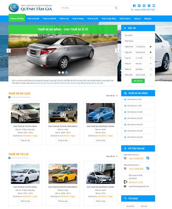 mẫu thiết kế website Cho thuê xe hơi