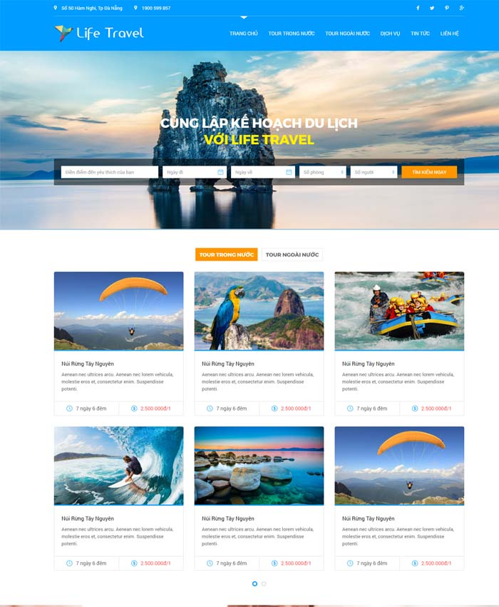 mẫu thiết kế website Tour du lịch