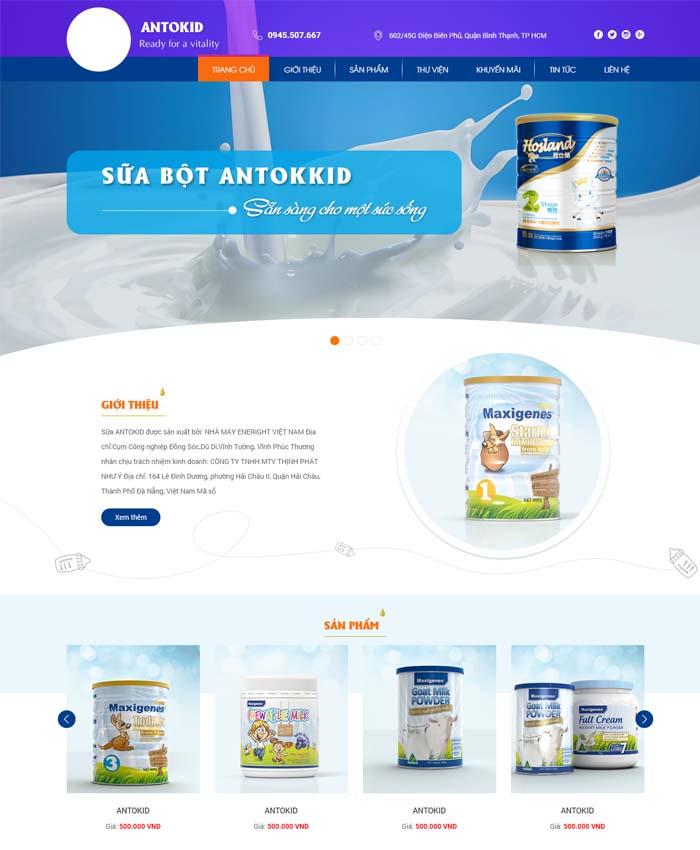 mẫu website Đại lý sữa bột