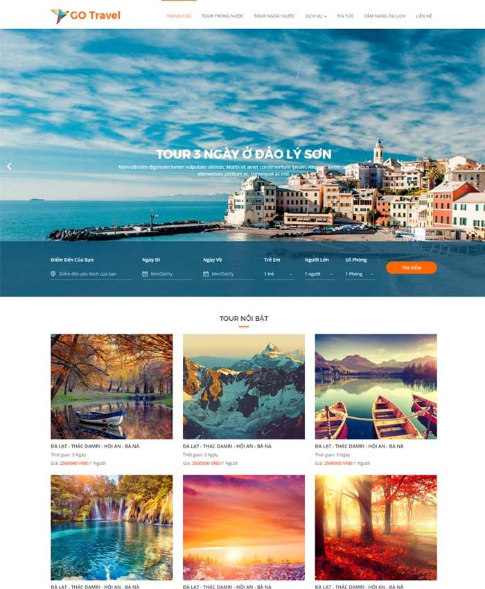 mẫu website Du lịch khách sạn