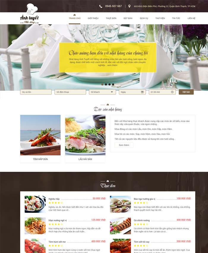 mẫu website Nhà hàng - Ăn uống