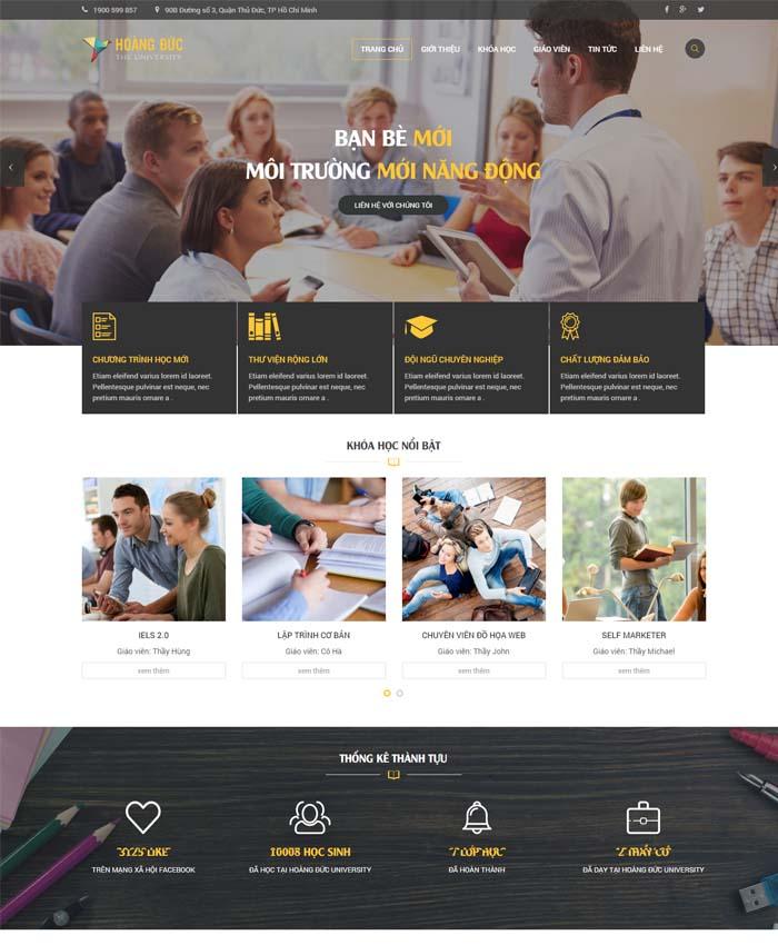 mẫu thiết kế website trường đại học