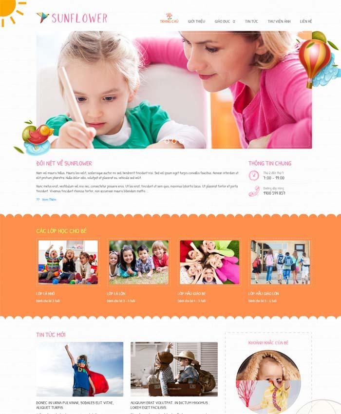 mẫu thiết kế website Trường mầm non