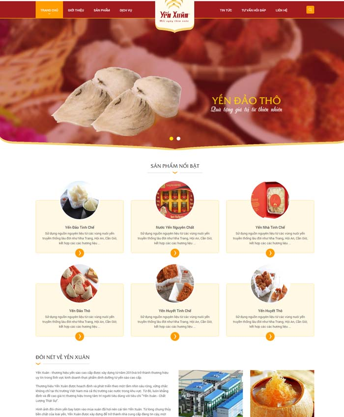 mẫu thiết kế website Mẫu website yến sào