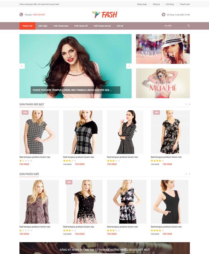 mẫu thiết kế website Bán hàng thời trang