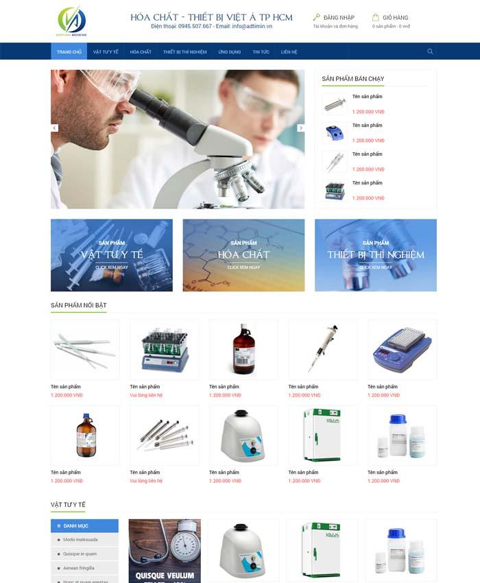 mẫu thiết kế website Thiết bị hóa chất