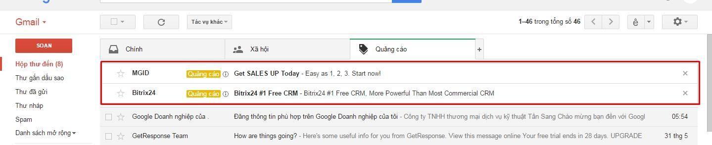 Quảng cáo của bạn sẽ nổi bật trong Gmail
