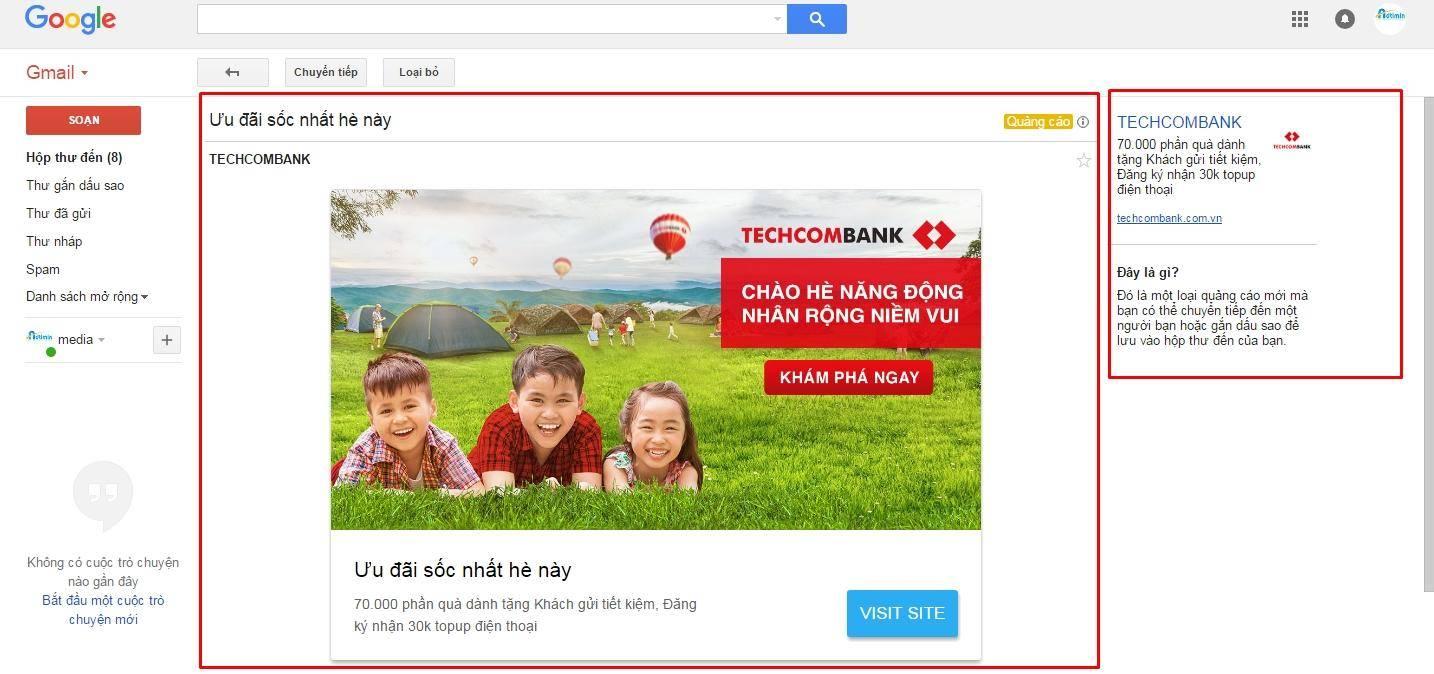 Nội dung hiển thị sau khi click vào quảng cáo của Gmail
