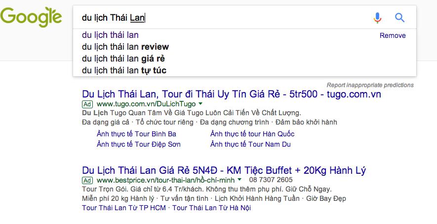 """Giá quảng cáo Google Adwords """"du lịch thái lan"""""""