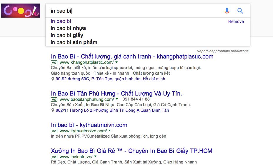 báo giá quảng cáo google adwords Adtimin từ khóa Bao Bì Giấy, in bao bì, bao bì nhựa