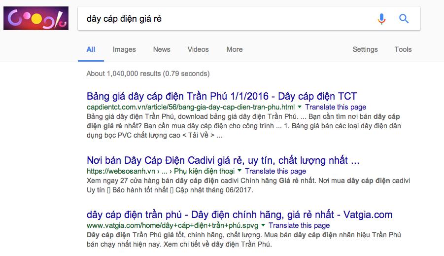 báo giá quảng cáo google adwords Adtimin từ khóa Dây Cáp Điện - Dây Điện và Cáp Điện