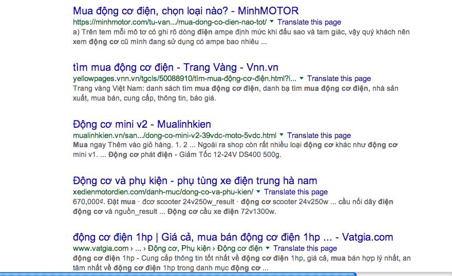 báo giá từ khóa Động Cơ Điện của Công ty quảng cáo google adwords Adtimin