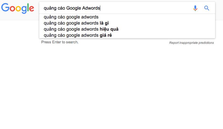 Gia quang cao google adwords binh chua chay