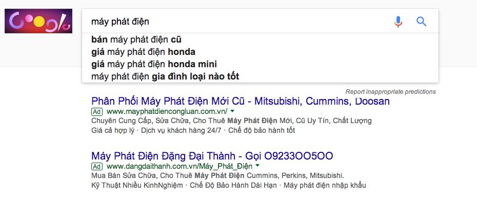 báo giá quảng cáo google adwords Adtimin từ khóa Máy Phát Điện