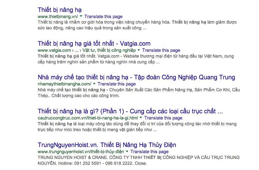 báo giá quảng cáo google adwords Adtimin từ khóa thiết bị nâng hạ