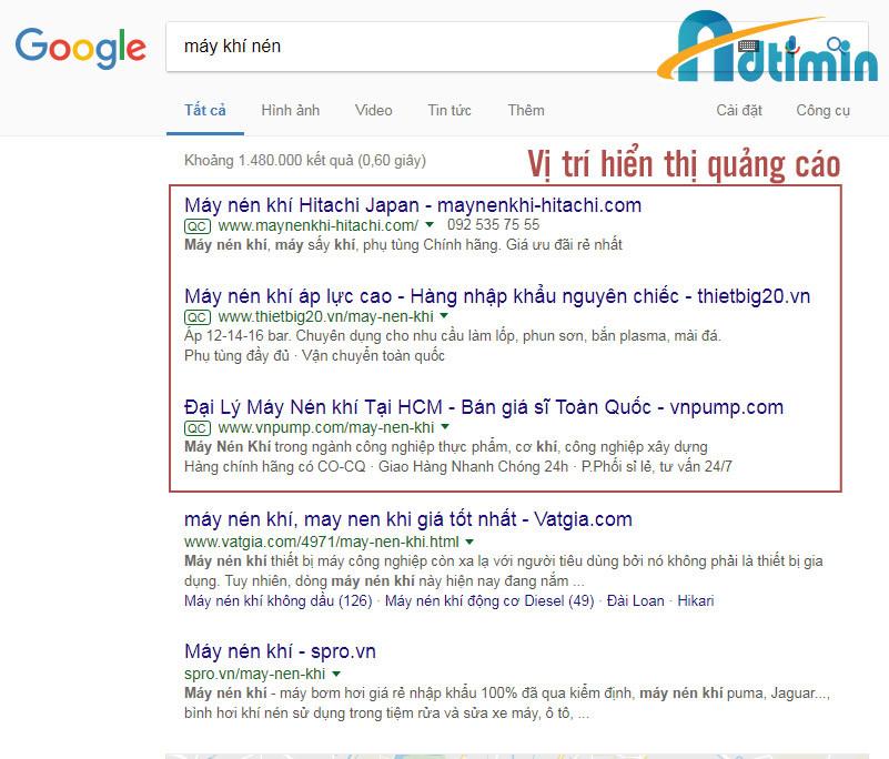 Vị trí hiển thị quảng cáo từ google adwords tại TP HCM