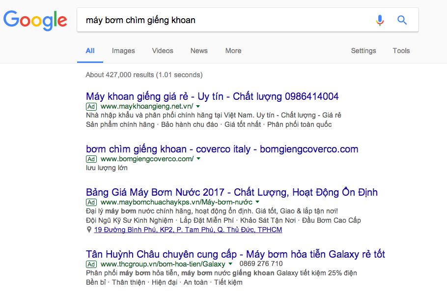 quảng cáo từ khóa Google