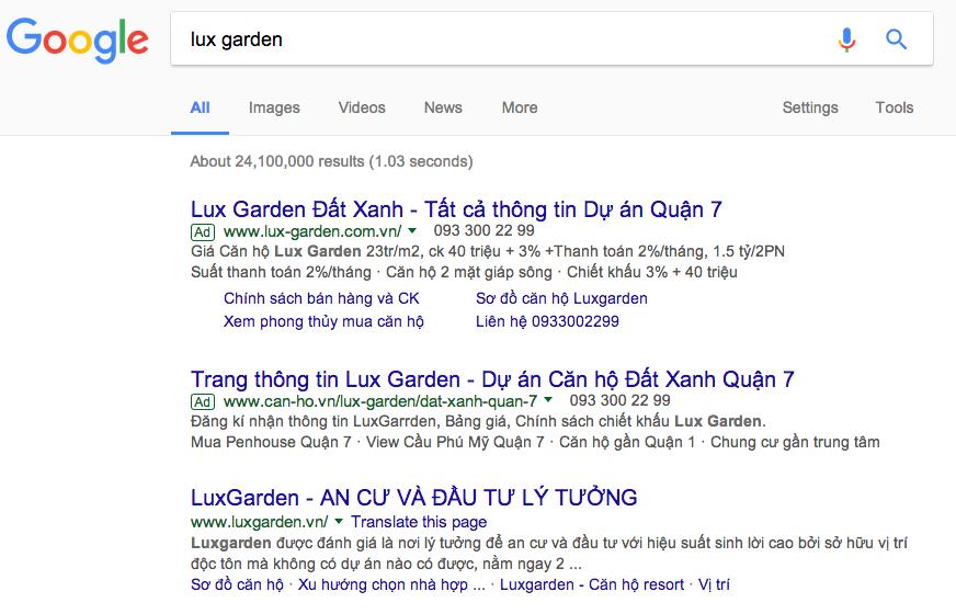 quảng cáo từ khóa trên Google