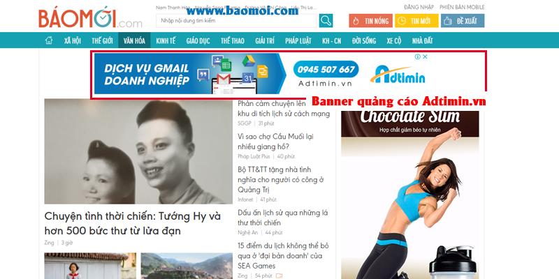 Banner Adtimin.vn tiếp tục bám theo khi người dùng truy cập website báo mới