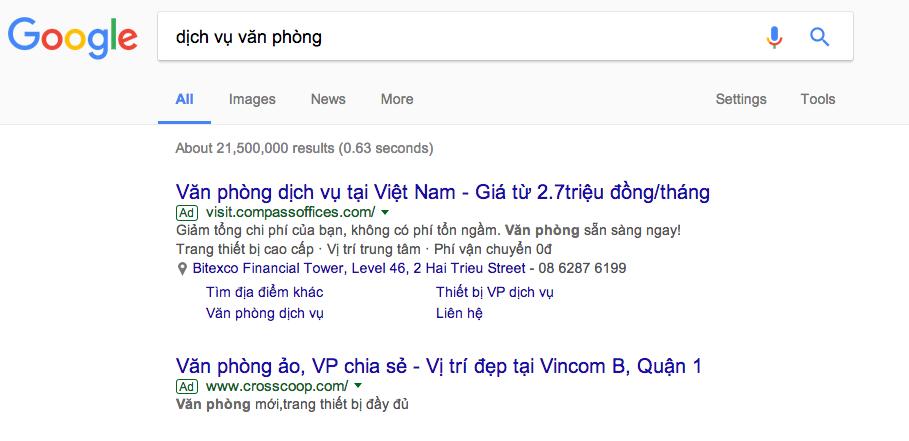 quảng cáo từ khóa Google ở Vinh