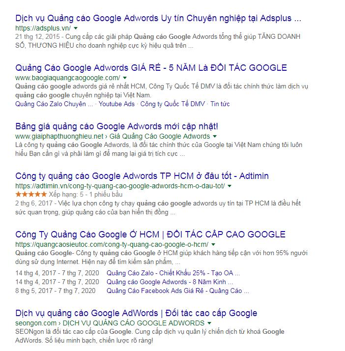 Website Adtimin xuất hiện trong top 10 kết quả tìm kiếm các từ khóa khó