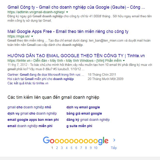 Hầu hết các sản phẩm, dịch vụ của công ty Adtimin đều nằm top Google