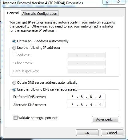 Cấu hình DNS Google