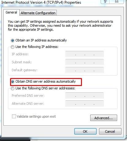 Loại bỏ cấu hình DNS Goolge