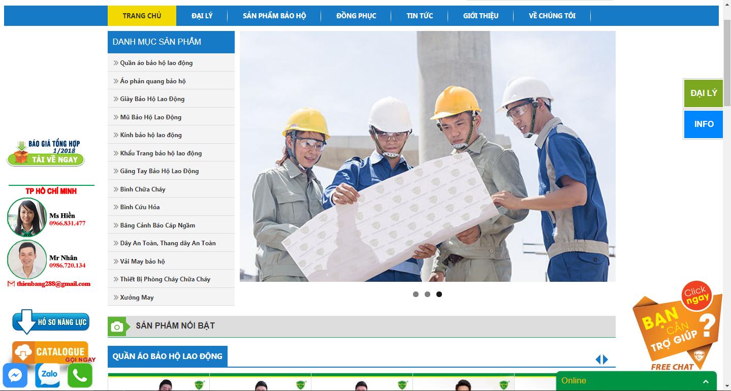 Thiết kế Website bảo hộ lao động chuyên nghiệp TP.HCM