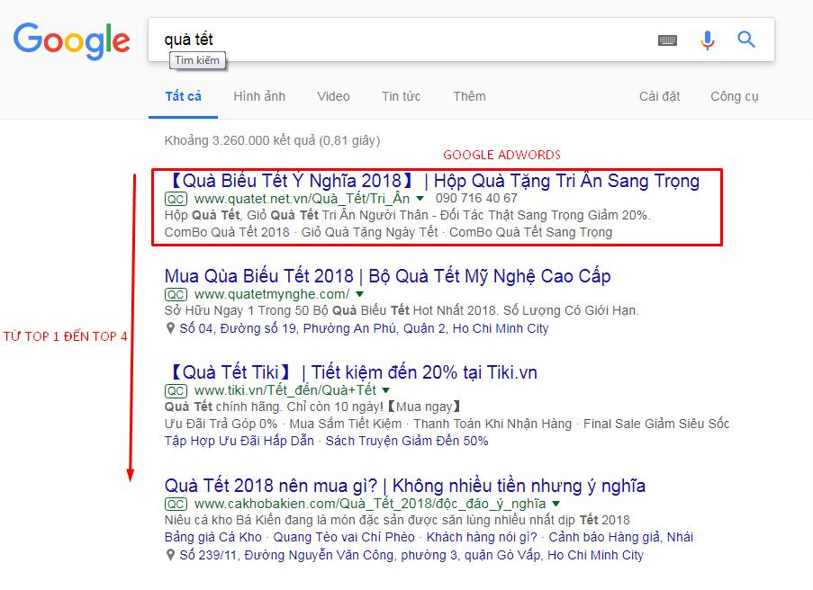 Quảng cáo Google Adwords lên top trong ngày