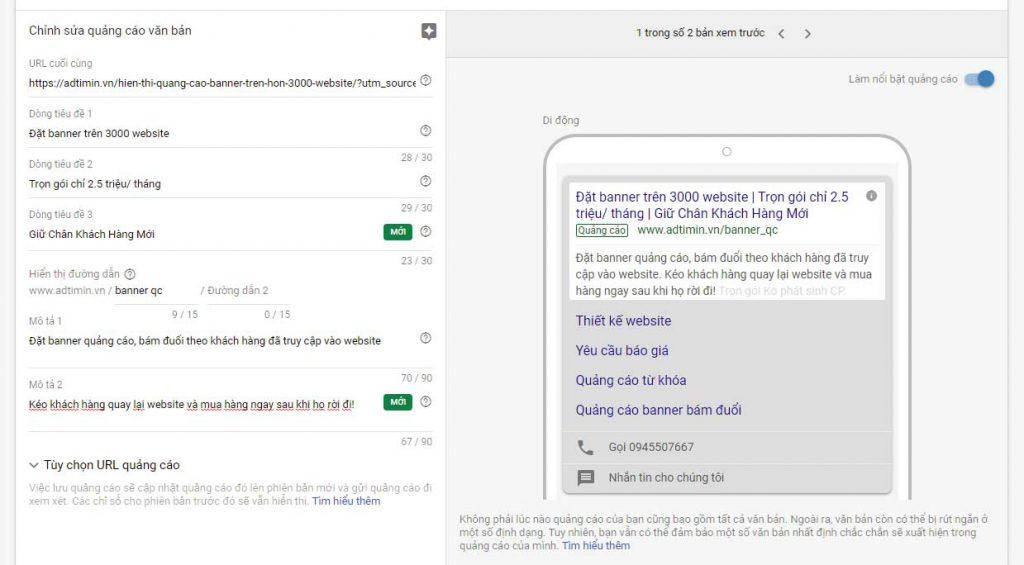 Nội dung quảng cáo Từ khóa google được mở rộng