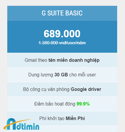 Bảng giá G suite Basic