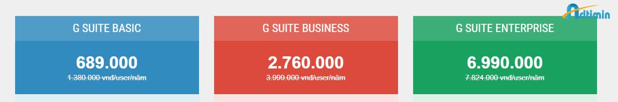 Bảng giá dịch vụ G suite giá rẻ tại Aditimin