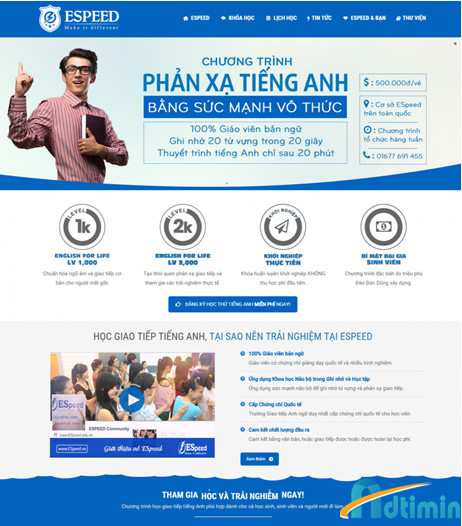 Thiết kế trang web hỗ trợ sau này marketing để tuyển sinh